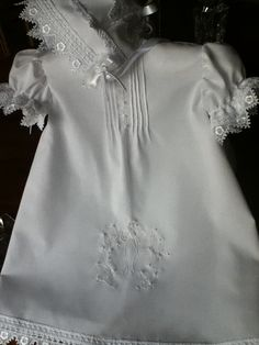 Christening Handmade baby girl short gown/with by TearsOfJoybyRuth, $85.00