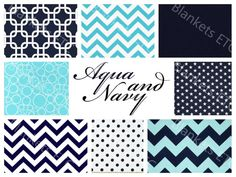 Love the aqua and navy! Refreshing color scheme! Design your own bedding! www.etsy.com/shop/BlanketsETC