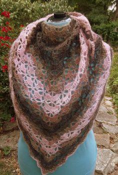 Woodrose Crochet Shawl Scarf lace wrap handmade mohair shawlette