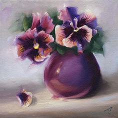 "Daily Paintworks - ""Study of Pansies in Lavender Mid Key"" - Original Fine Art for Sale - © Lori Twiggs"
