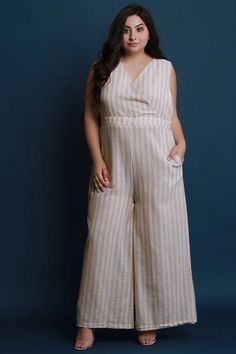 6425c0a357dc Pinstripe Surplice Open Back Wide Leg Jumpsuit. Purposed By Design (Honey  Skies)