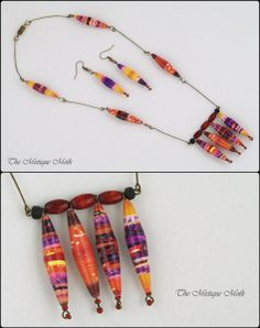 Paper Bead Jewelry Sets. Jeweler making ideas with paper. #paper #beads