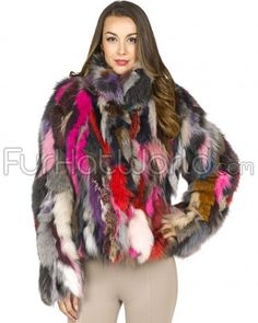 The Jigsaw Jacket: *Authentic Fox Fur *Dyed a fun multi color pallet *Durable polyester lining *Chic and Trendy! Buy now at FurHatWorld.com