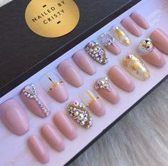 Pink Nude Press On Nails Genuine Swarovski by NailedByCristy