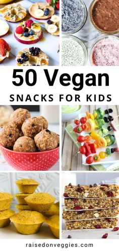 Make snack time a breeze with these 50 easy, healthy and delicious vegan snacks for kids, sure to please even the pickiest of eaters. #healthykidssnack #healthytoddlersnack #vegan… Vegan Snacks On The Go, Healthy Snacks To Make, Healthy Toddler Snacks, Easy Snacks, Healthy Kids, Toddler Food, Toddler Meals, Healthy Recipes For Kids, Healthy Lunches