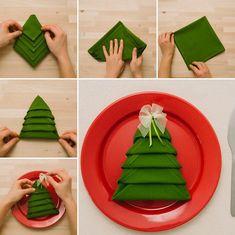 servietten falten idee für weihnachten