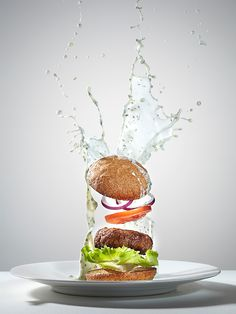 Series of images created for Weight Loss feature in Men's Heath. magazine depicting selected healthy recipes with dynamic approach to food photography. The shots portray how the food would look in space in the state of weightlessness. Defying gravity, everything from the food to the condiments is floating in midair.