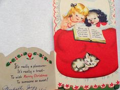 567 40s Girl DOG CAT IN BED Vintage Diecut Christmas Greeting Card   eBay