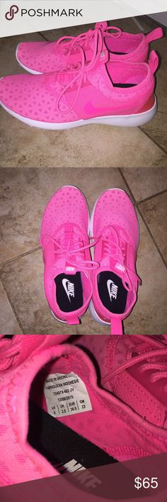 NIKE TENNIS SHOES i've worn them once & they're just sitting in my closet a i decided to sell them. they're a super bright pink! Nike Shoes Athletic Shoes