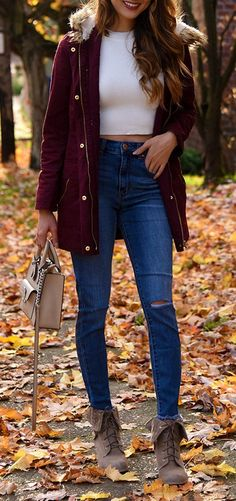 #cute #outfits Burgundy Jacket // White Cropped Top // Ripped Skinny Jeans // Booties