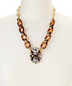Gold & Black Tortoise Chain Link Pendant Necklace
