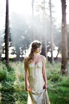 Gold lace Florence Atelier Couture Designer Wedding Dress by Claire Pettibone.