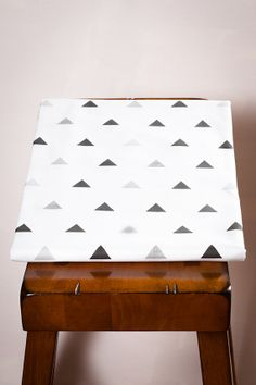 Fitted Crib Sheet in Tiny Triangles in Black and by OliveAndAndrew, $60.00