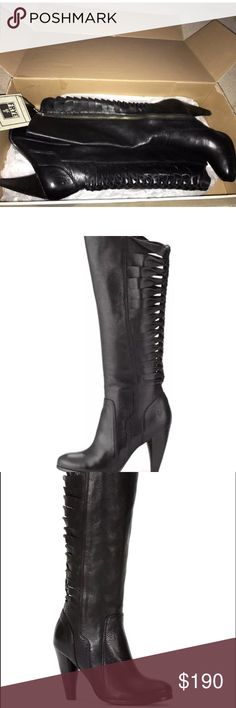 New Frye tall heeled boots twisted mikaela black 9 Get wrapped up in the unique style of the Frye Mikaela Twisted Tall boot!  Soft vintage leather upper.  Features braided leather straps in the back for an eye-catching look!  Lightly leather cushioned footbed for all-day comfort.  Inside zipper for easy on-and-off.  Stacked high heel.  Leather and rubber outsole for durable wear.  Imported.  Measurements:  Heel Height: 3 3⁄4 in Frye Shoes Heeled Boots