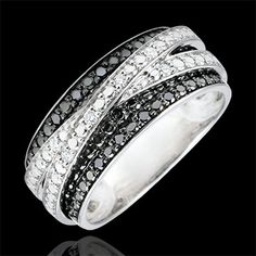 Bague or blanc diamants blancs et diamants noirs - Elenna #edenly #black&white