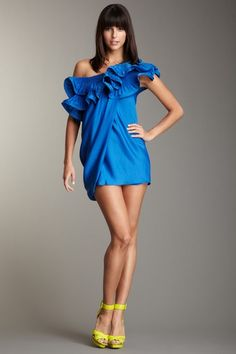 one shoulder ruffle #BCBGMAXAZRIA