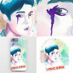 unicorn #lay #exo #society6 #watercolor