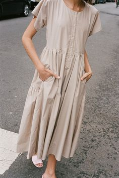 North Magnetic Pole - Florenza Dress in Tan Paper Cotton-Maryam Nassir...
