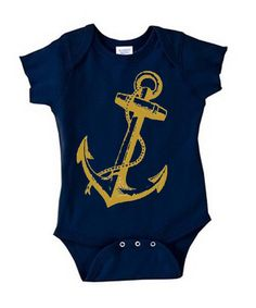 Navy Baby Onesie / Rusty Gold Anchor / Screen Printed Bodysuit / Infant Clothes