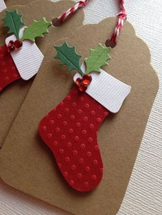 Layered Paper Gift Tag Featuring a Christmas Stocking and Holly