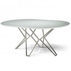 Mesa para Sala de Jantar Oval Kin Branca 75x160x100   Bel Metais