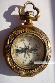 Antique Victorian Miniature Bronze Cased Compass Chatelaine Charm Compasses photo