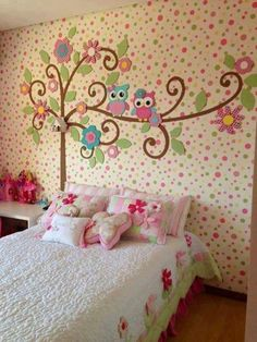 Cute Girls Bedroom Design : Little Girls Bedroom Design – Better Home and Garden Love the owls Owl Bedroom Decor, Owl Bedrooms, Cute Girls Bedrooms, Teenage Girl Bedrooms, Little Girl Rooms, Kids Bedroom, Little Girls, Bedroom Ideas, Bedroom Pictures