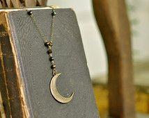 Mystic Moon Rosary Necklace, Rosary Necklace, Moon Necklace, Crescent Moon Necklace, Wicca, Moon Necklace, Gypsy, Boho, Bohemian, Goth