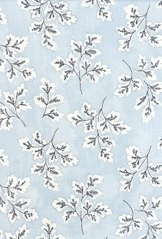 Meadow Leaf Cotton Curtain Fabric Powder blue cotton fabric with white and dark blue leaf print. Suitable for soft furnishings, curtains and...bedroom?