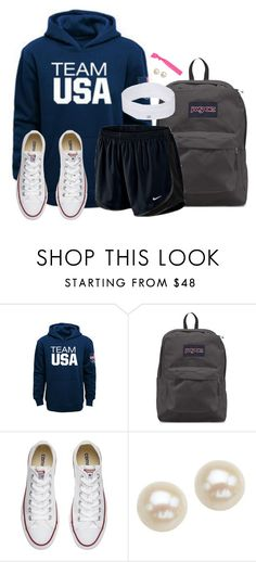 """Navy hoodie"" by aweaver-2 on Polyvore featuring JanSport, NIKE, Converse, Honora and Popband"