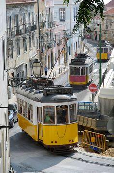Places Around The World, Travel Around The World, Lisbon Tram, Portuguese Culture, Rail Car, Tramway, Portugal Travel, Train Tracks, Wanderlust Travel