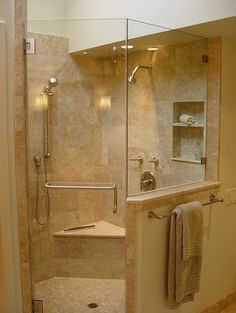 showers with half walls & towel bar - Google Search