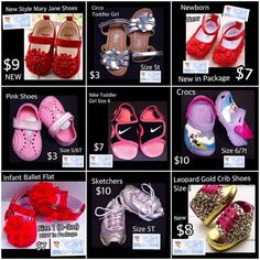 Affordable, New and Gently worn shoes!  Shop by size for your cutie now.  https://baby-girl-heaven.myshopify.com