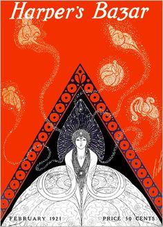 Harpers Bazar Cover by Erte Art Deco Art Nouveau, Art Deco Period, Art Deco Era, Poster Vintage, Vintage Art, Erte Art, Art Deco Artists, Art Deco Illustration, Vintage Illustrations