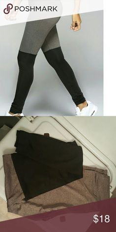 Colorblock Leggings Greyish taupe color at the top and black at the bottom...go up a size for better fit!! Pants Leggings