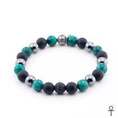 Green Jasper Gemstone Beaded Bracelet  #black #green #hematite #jasper #men #onyx #silver #summer #bracelet #menstyle