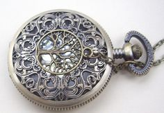 hollow golden dial Pocket watch(big size) Locket Necklace,with a tree. $7.00, via Etsy.