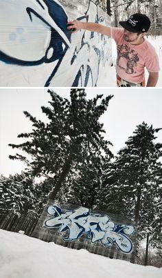 cellograff winter tree tagging