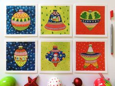 Christmas Greeting Square Card Set of 6. by BeijosdeAlgodao