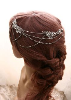 Bohemian Halo Chain headpiece, Rhinestone Crystal Wedding Wrap hairpiece, Boho Bridal Wreath Crown, Goddess Grecian Headband Accessories by KissDesignHouse on Etsy