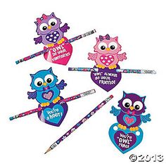 Valentine Owl Cards With Pencils for students