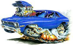 Madd Dogg's Muscle Car Art | Details about 1971-73 Chevy Nova Muscle Car -Toon Mouse Pad