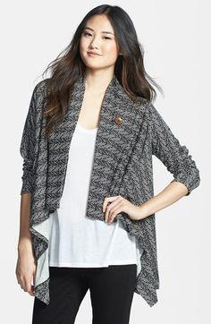 Bobeau Asymmetrical Fleece Wrap Cardigan (Regular & Petite)