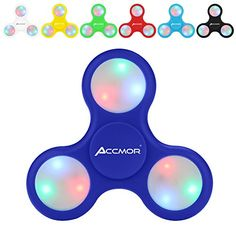 Fidget Hand Finger Spinner, Accmor EDC Toys with Battery Replaceable LED Lights Helps Stress Reducer Relieves ADHD Anxiety for Kids & Adults-Deep Blue LED Fidget Hand Spinners which glow in the dark (Manual switch control LED), 608 stainless steel (Never Rust), 2minutes spin time.(Note: Spin time varies depending on strength used to spin object, the spin time above was tested by seller.) EDC Focus Toy for Killing Time - this fidget hand spinner will glow in the dark after exp