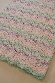 Pastel Waves Baby Blanket 30 x 30 by SimplyCraftedDesigns on Etsy