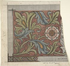 Design for Ecclesiastical Embroidery -- Cross Stitch Pattern Ernest Geldart (British, London 1848–1929) late 19th–early 20th century, Watercolor, pen and black ink over graphite, sheet: 10 1/4 x 10 1/2 in. (26 x 26.7 cm)
