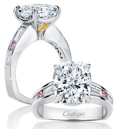 Calleija. French Rose. 18ct White Gold, Pink and White Diamond ring