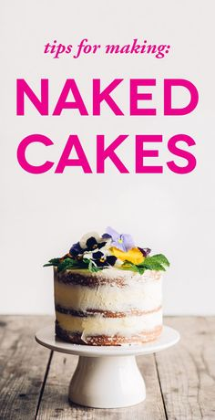 Wedding Cake Recipes Naked Cake Tips. And lots of pics. - Tons of inspiration pictures of naked cakes, to help you pick the style that is right for your wedding. Plus, instructions on baking your own naked cakes. Make Your Own Wedding Cakes, Small Wedding Cakes, Floral Wedding Cakes, Cake Wedding, Making A Wedding Cake, Cupcakes, Cupcake Cakes, Nake Cake, Cake Aux Fruits