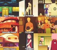 """""""I'm home"""" - Naruto, Shikamaru and Sakura ❤️❤️❤️"""