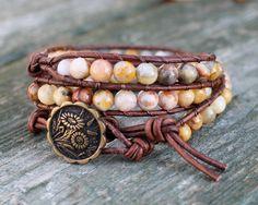 Beaded Wrap Bracelet, Boho Hippie Bracelet, Triple Wrap Bracelet, Leather Wrap Bracelet, Crazy Lace Agate. $38.00, via Etsy.